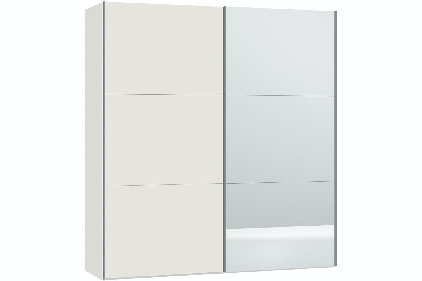 Emer Sliding Wardrobe 203Cm | White+Mirror