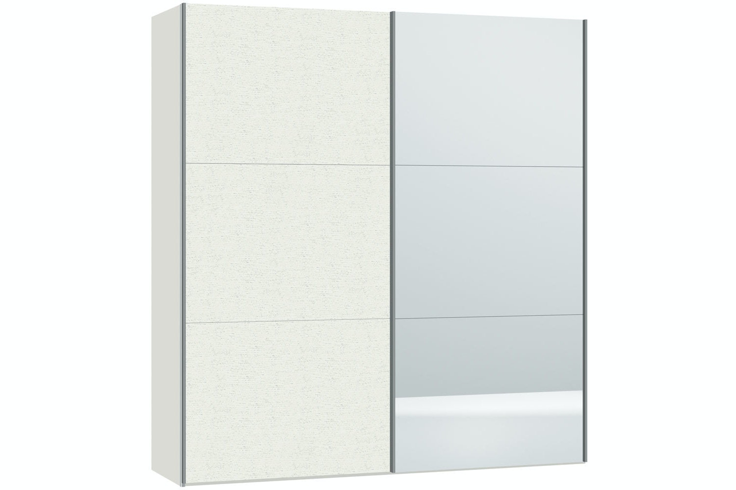 Julia Sliding Wardrobe 203Cm | White Ash + Mirror