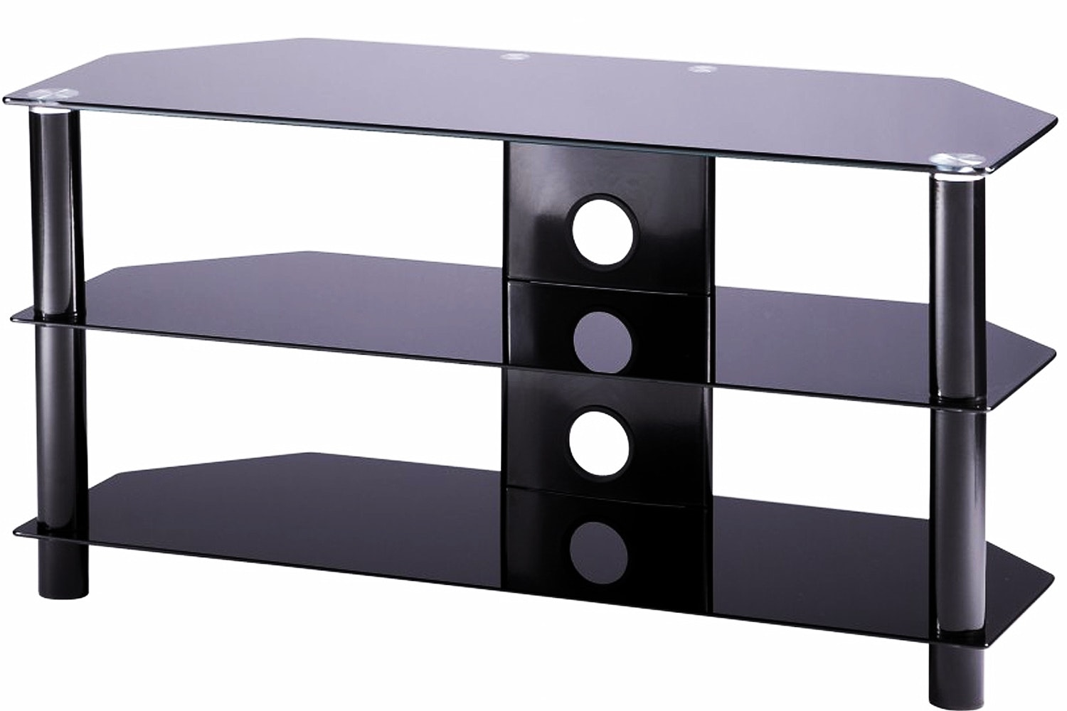 Alphason Essential 3 Tier Glass TV Stand | ESS10003BLK