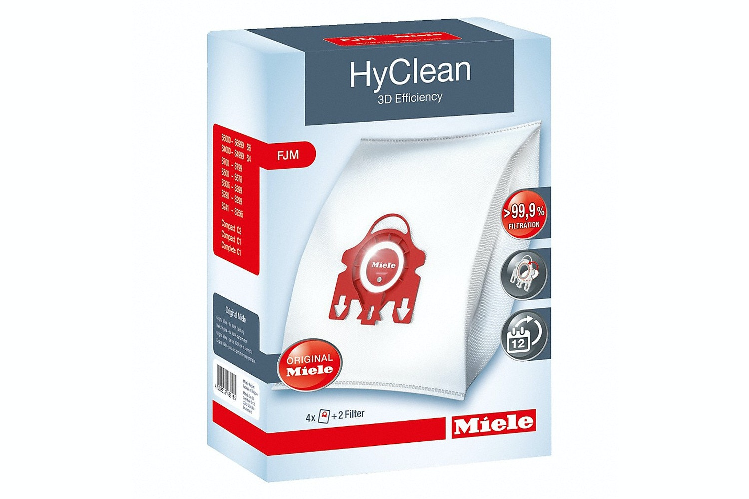 Miele FJM HyClean 3D  HyClean 3D Efficiency FJM dustbags   ensure that dust picked up stays inside the vacuum cleaner