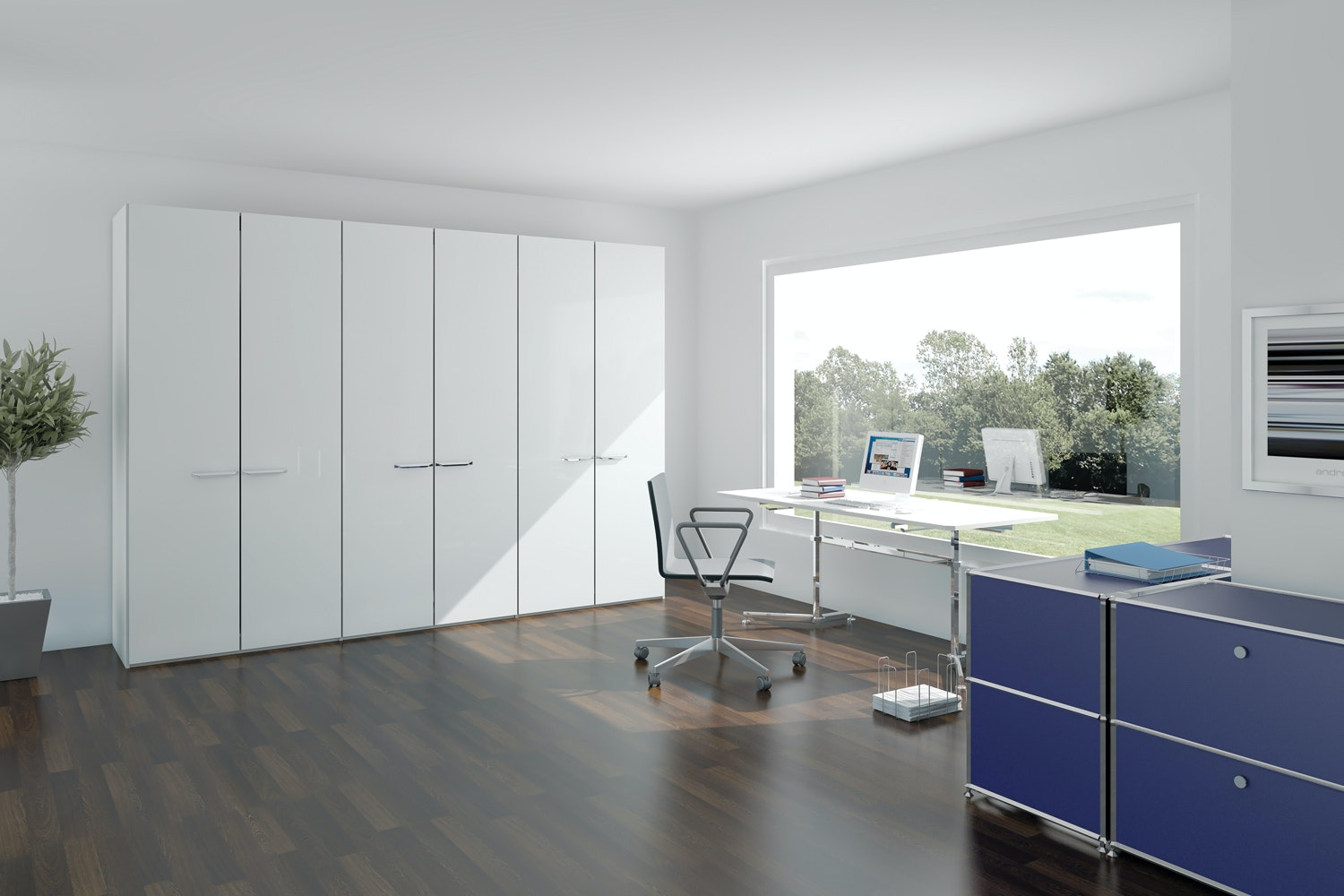 Zoe Hinged 5 Door Wardrobe  253Cm | White Glass + Mirror