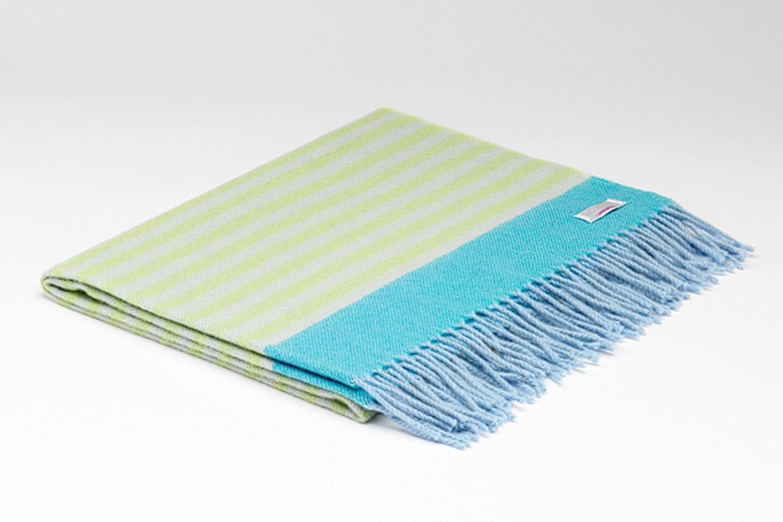 Baby Lambswool Blanket Lime & Turquoise