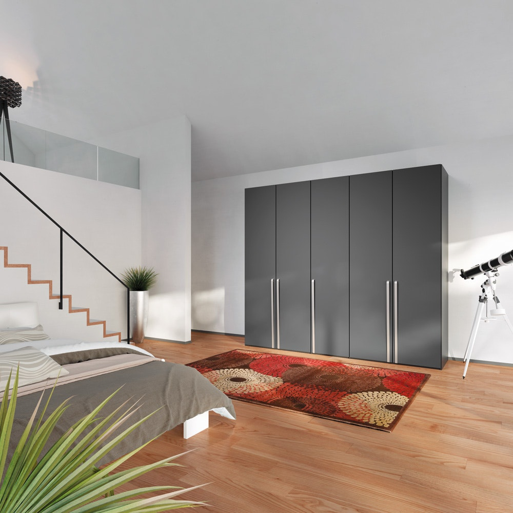 Laura Hinged 3 Door Wardrobe 152Cm | Antracite Glass + Mirror