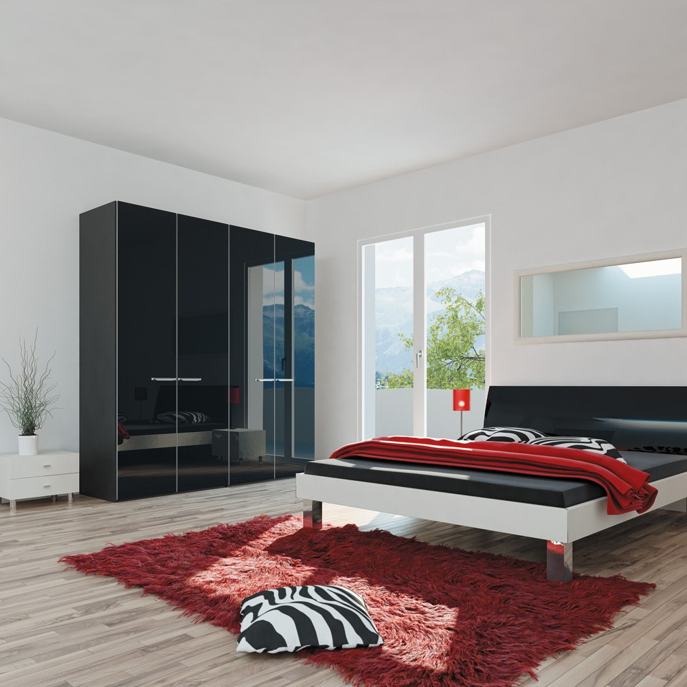 Janet Hinged 5 Door Wardrobe 253Cm | Black Glass + Mirror