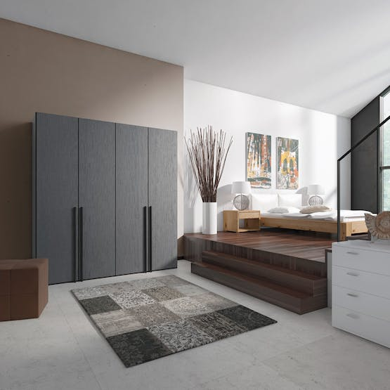 Lucy Hinged 5 Door Wardrobe 253Cm | Fino Antracite + Mirror