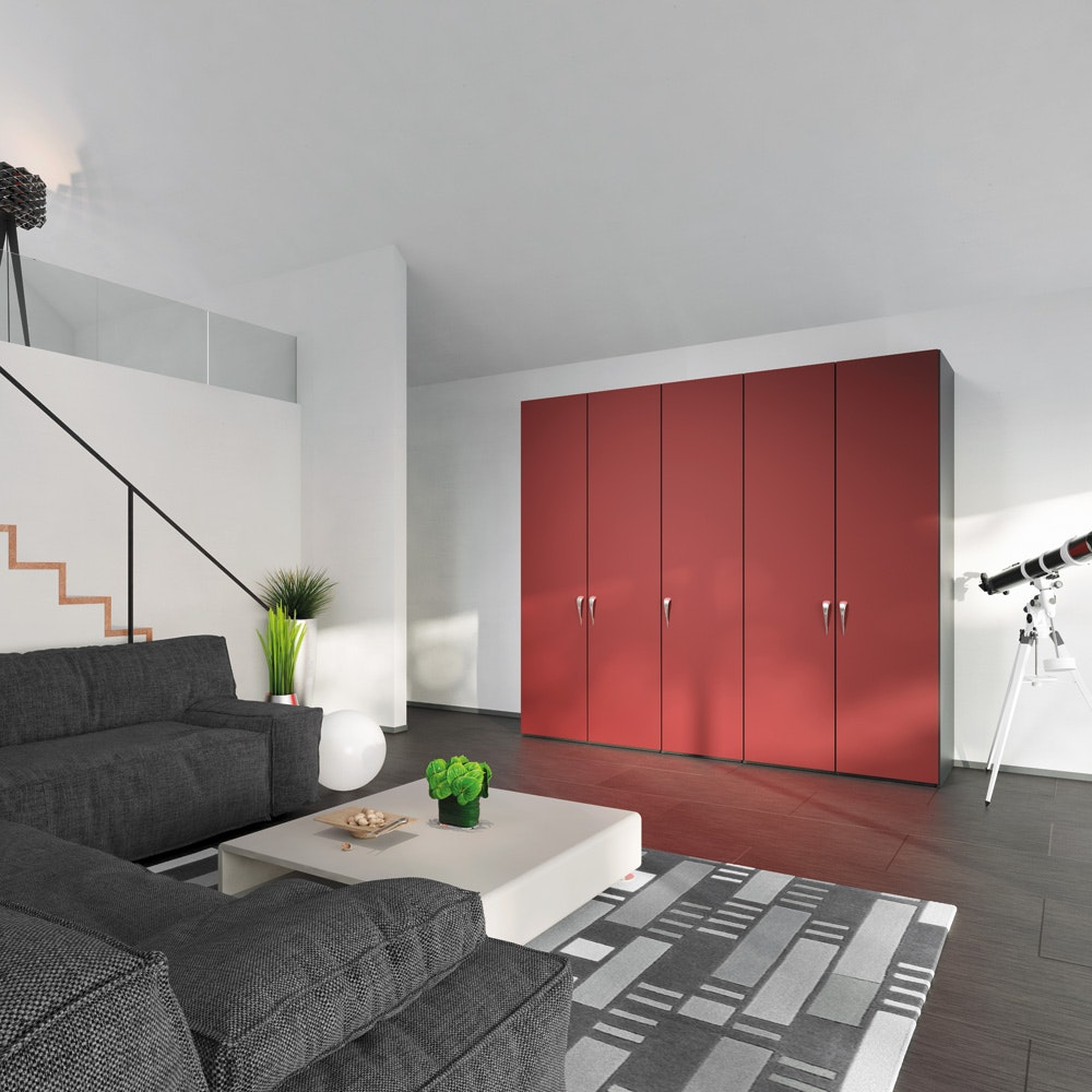 Jutzler Skye Longline 4 Door Wardrobe | Red Glass Matte