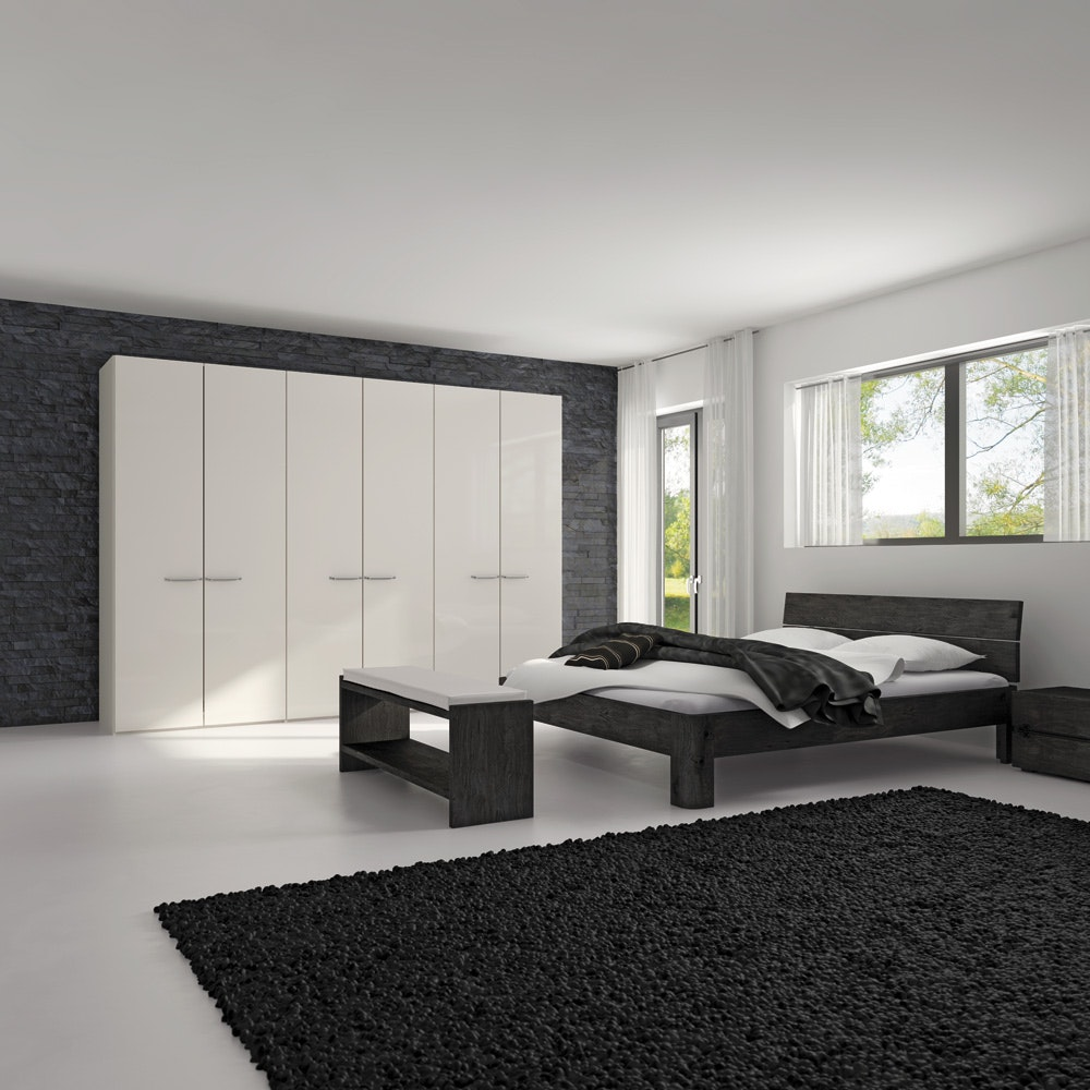 Yasmin Hinged 4 Door Wardrobe 203Cm | White High Gloss + Mirror