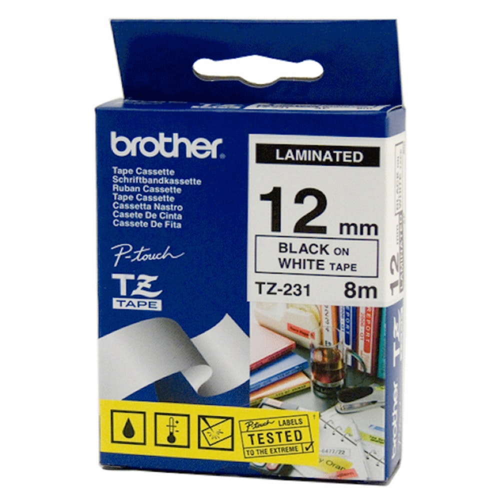 Brother TZE231 12MM Black on White Tape