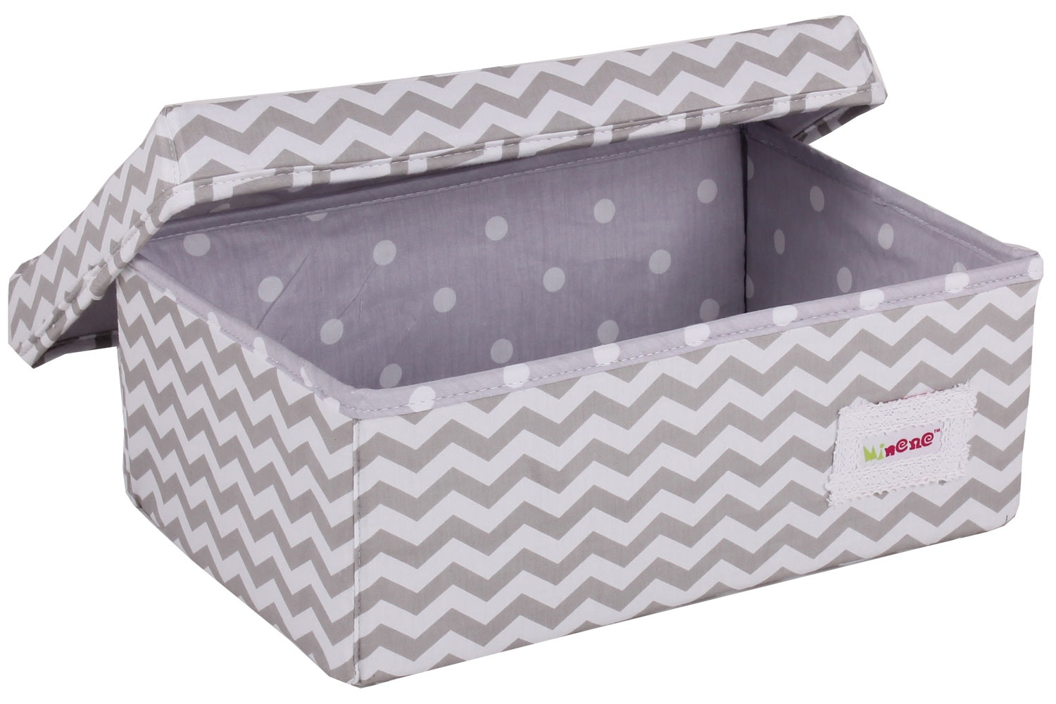 Minene Small Storage Box | Taupe Chevron