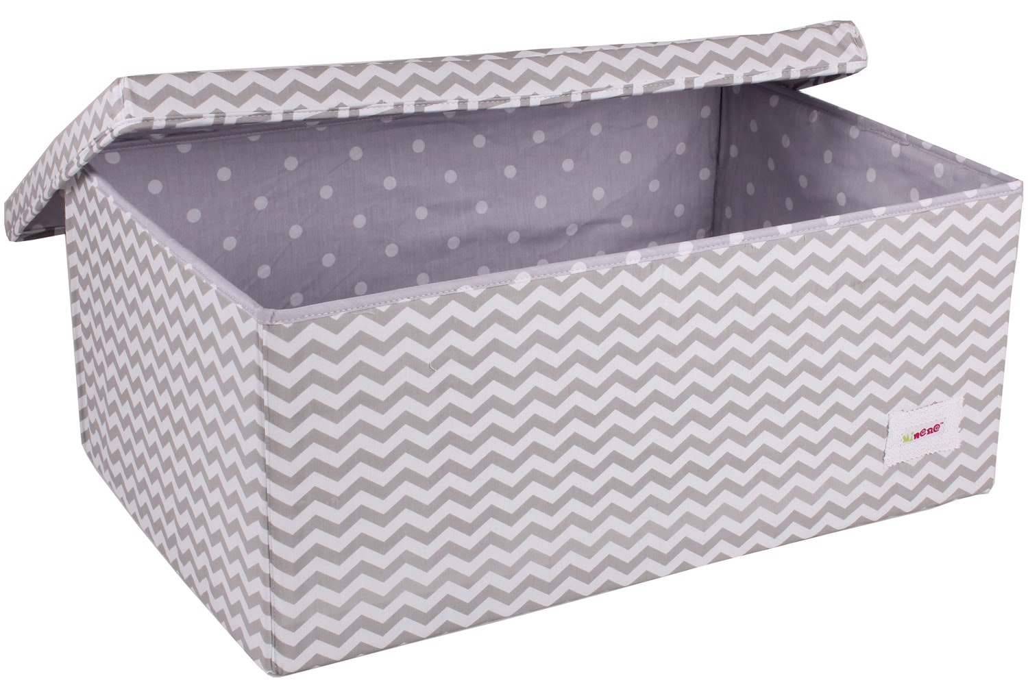 Minene Large Storage Box | Taupe Chevron