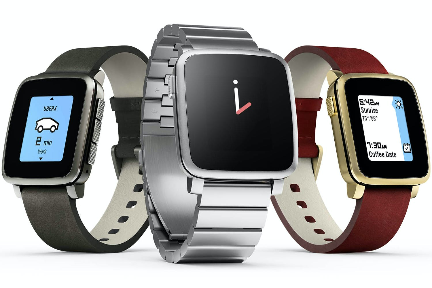Pebble Time Steel Smartwatch with Leather Band