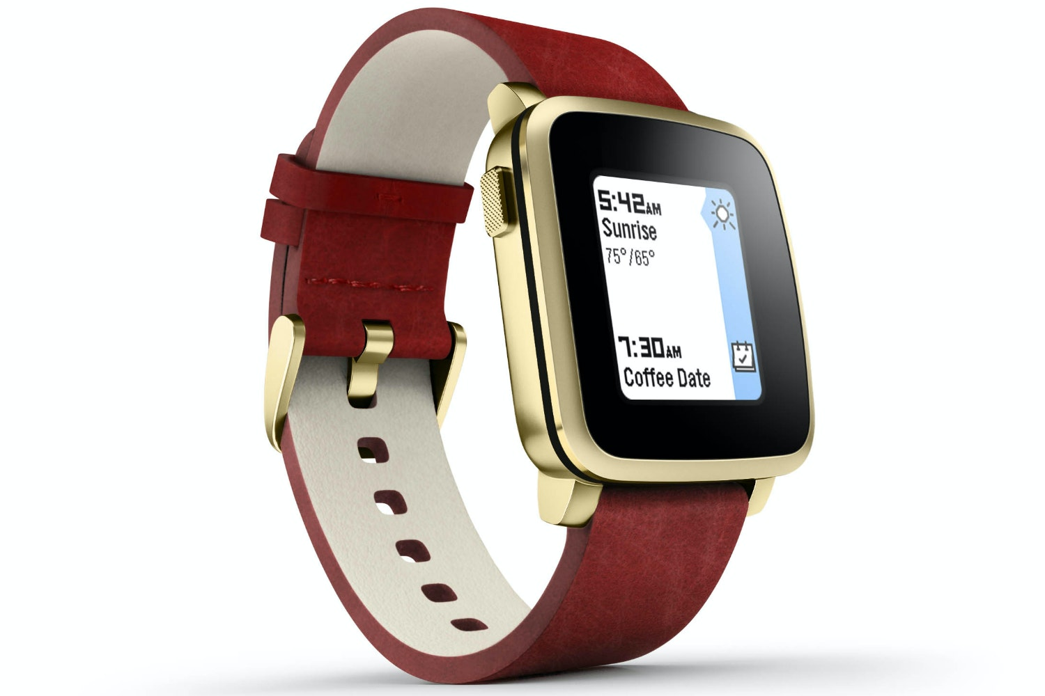 Pebble Gold Smartwatch Red Leather