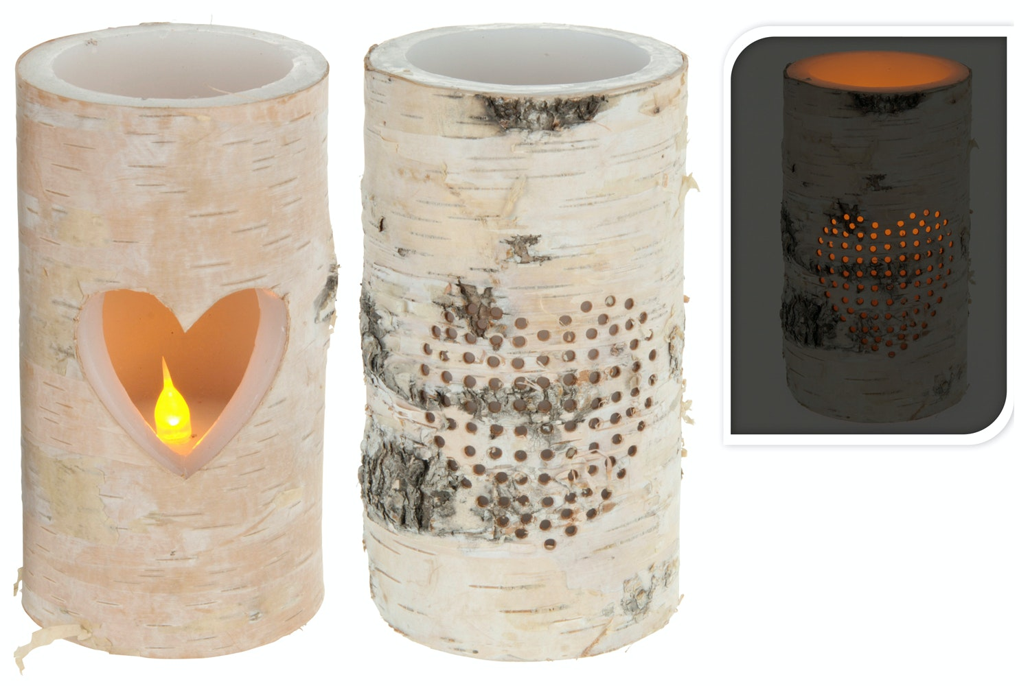 Candle LED Heart With Bark