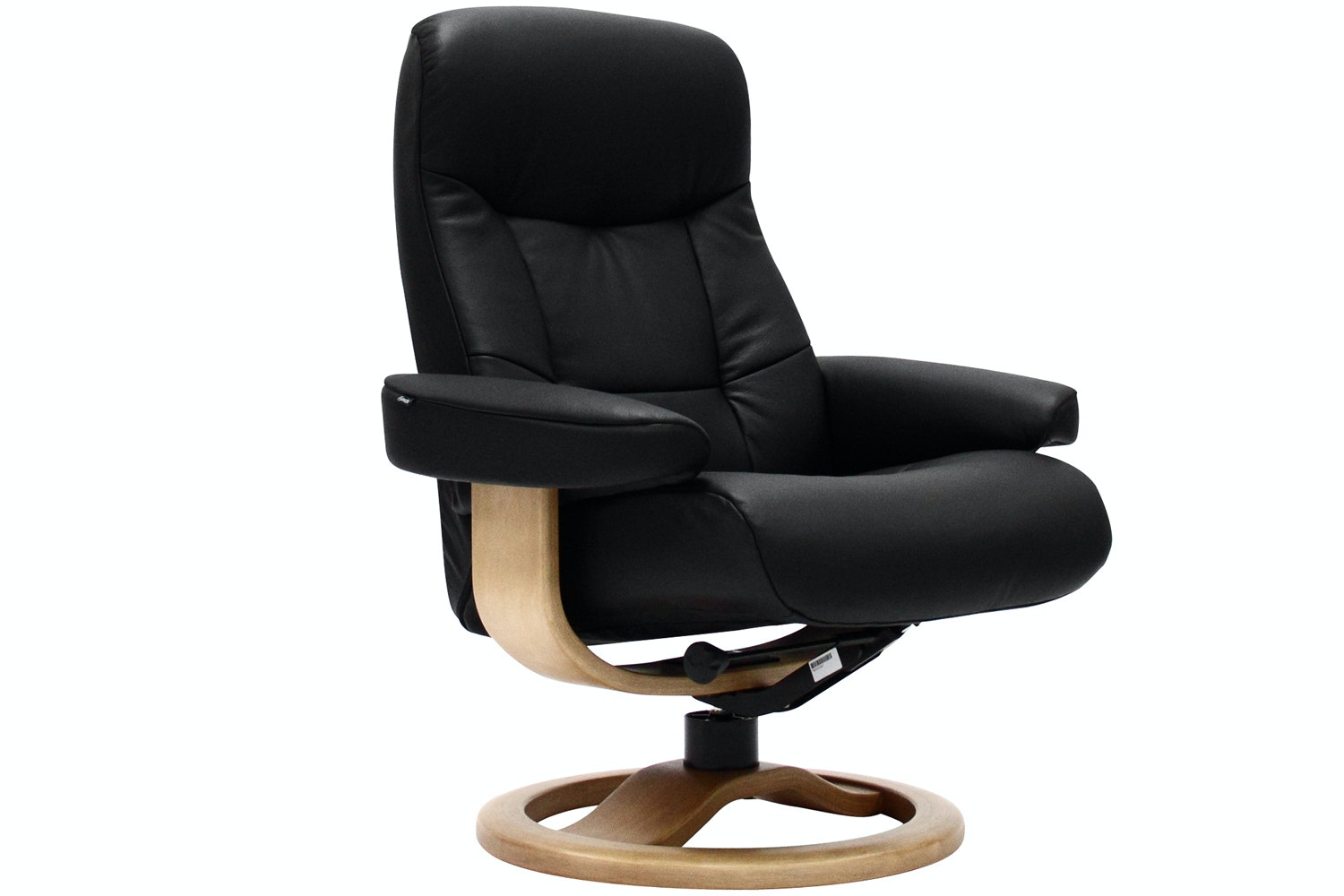 Bilbao Chair with Stool | Black Leather with Oak Base