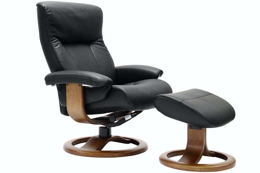 Rhine Chair with Stool | Black Leather | Oak Base