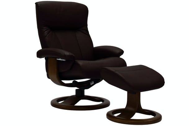 Rhine Chair with Stool | Brown Leather | Expresso Base