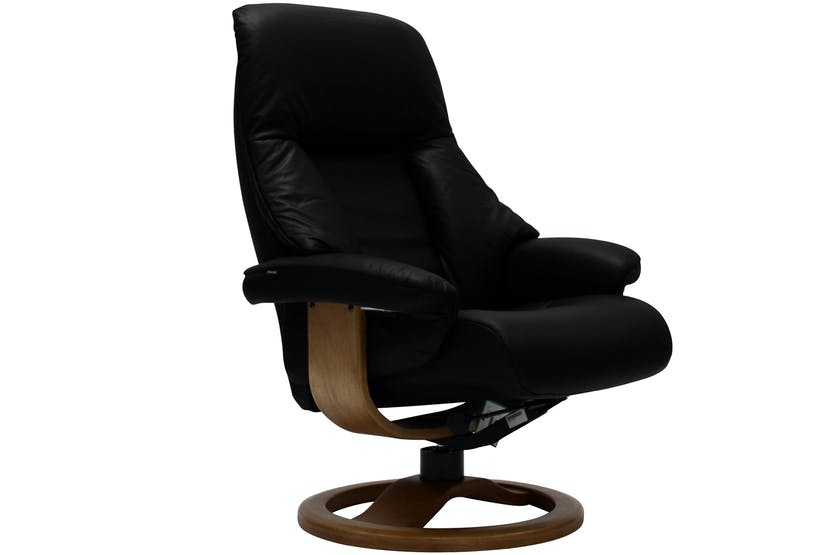 Targa Chair With Stool | Black leather | Black/Oak Base