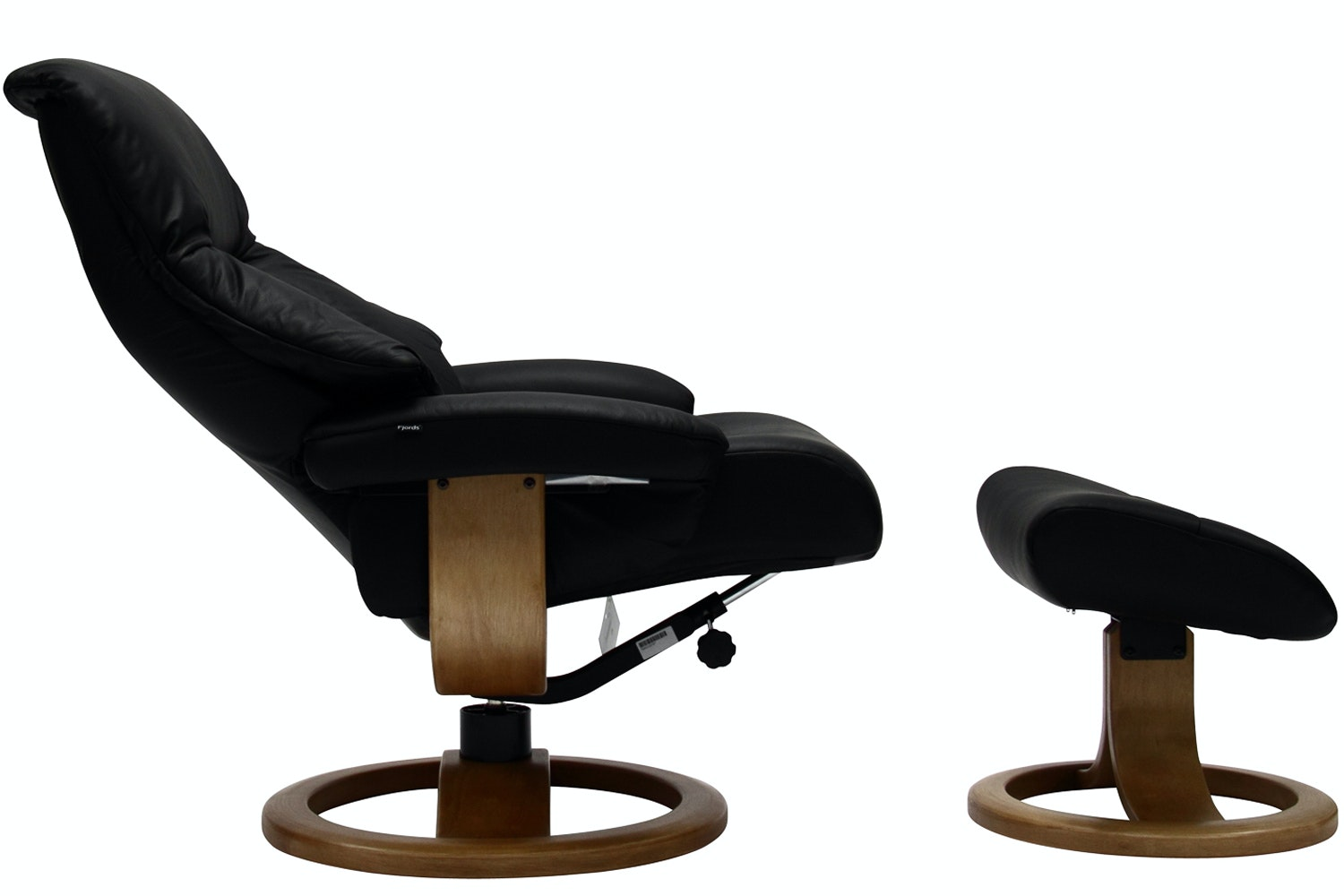 Targa Chair with Stool | Black Leather with Oak Base