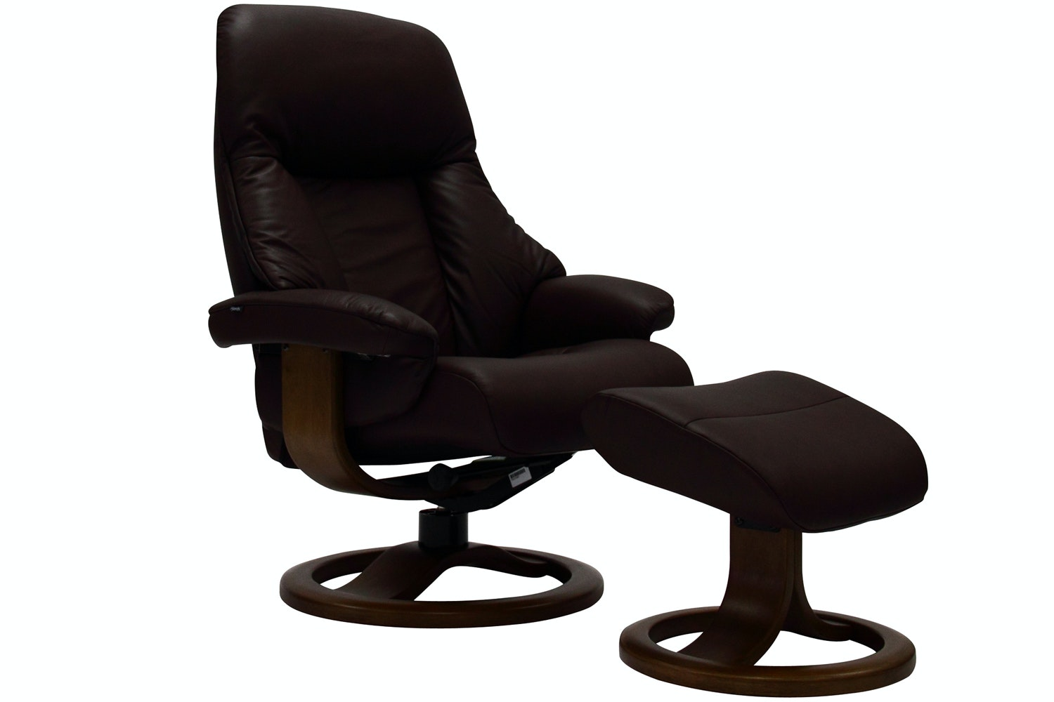 Targa Chair with Stool | Brown Leather with Espresso Base