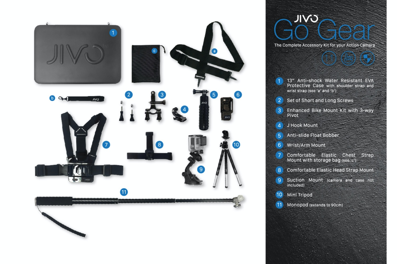 Jivo GoGear GoPro 11-Piece Accessory Kit