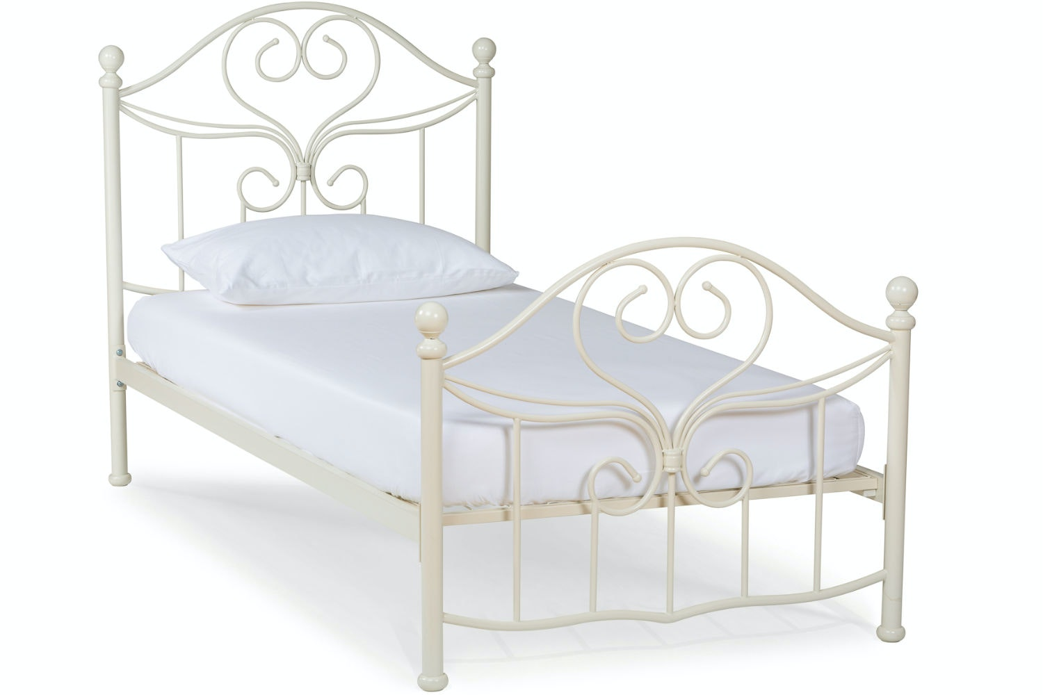 Julliet Single Metal Bed Frame | 3ft | Ivory