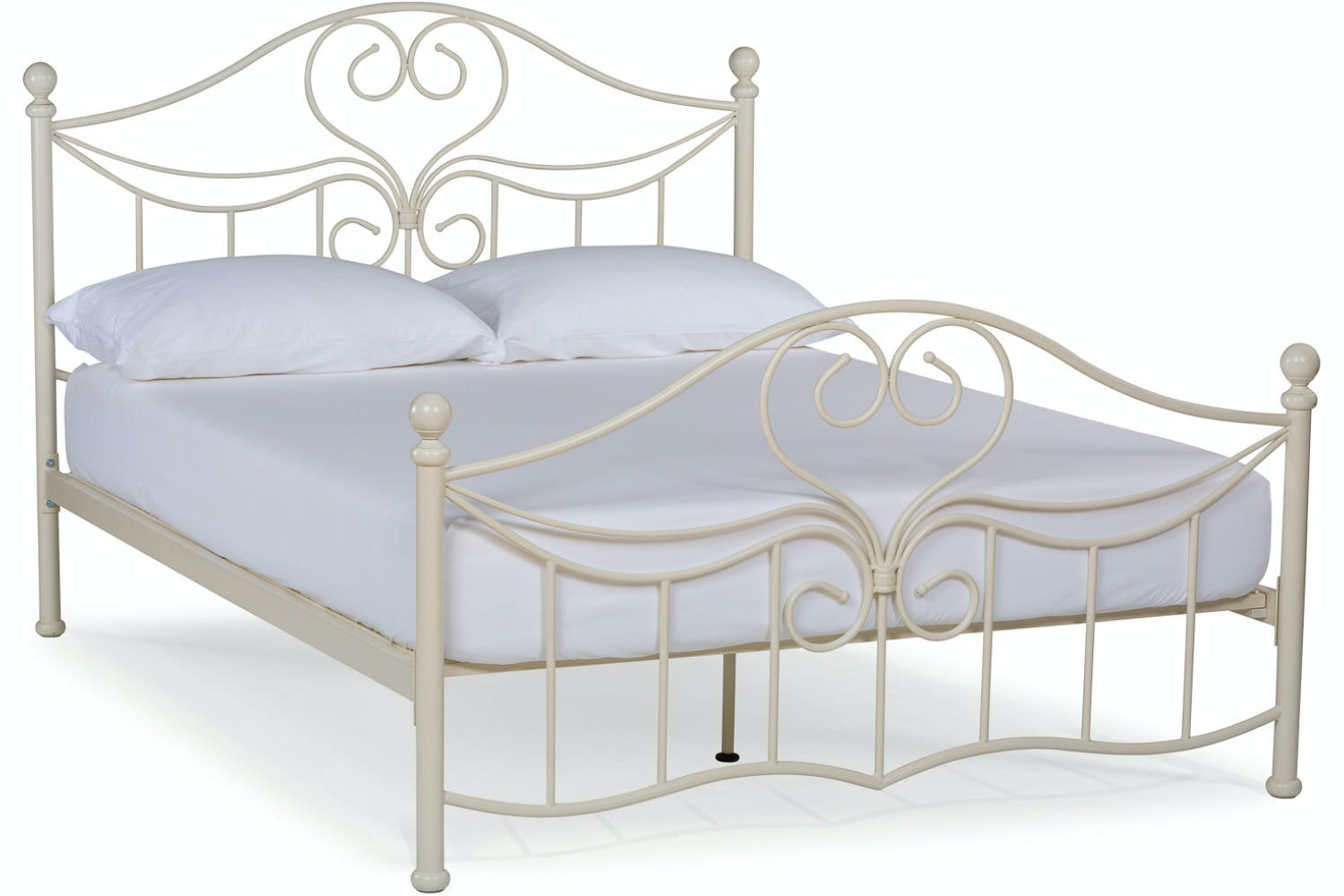 Julliet Double Metal Bed Frame | Ivory | 4ft6
