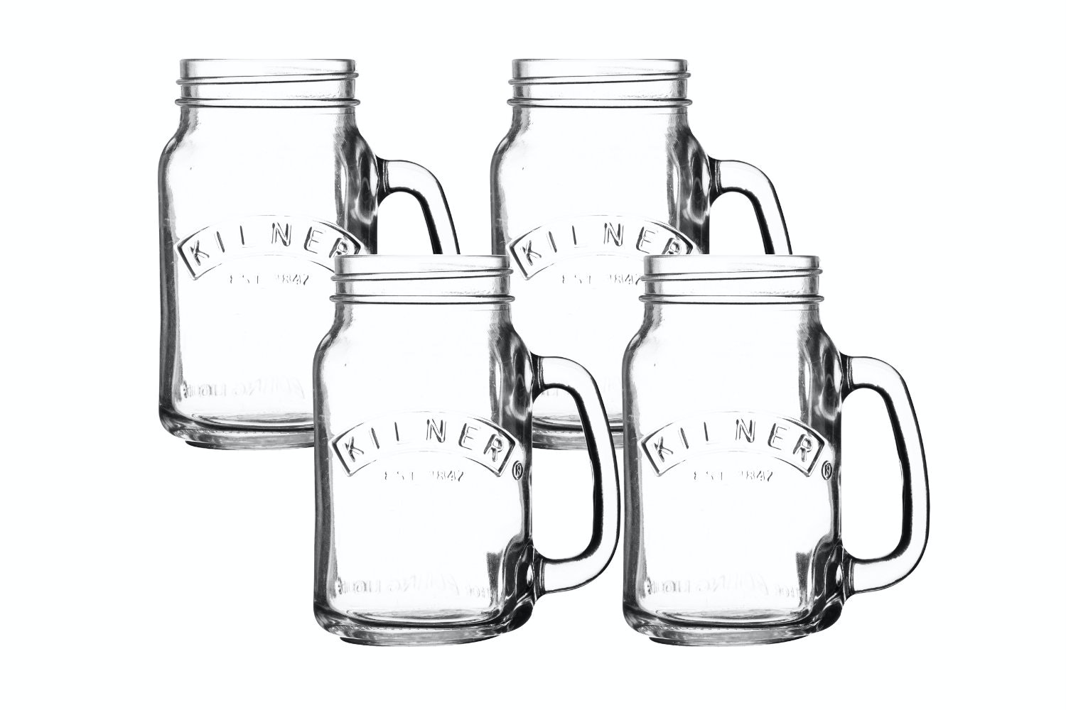 kilner set of 4 handled jars clear