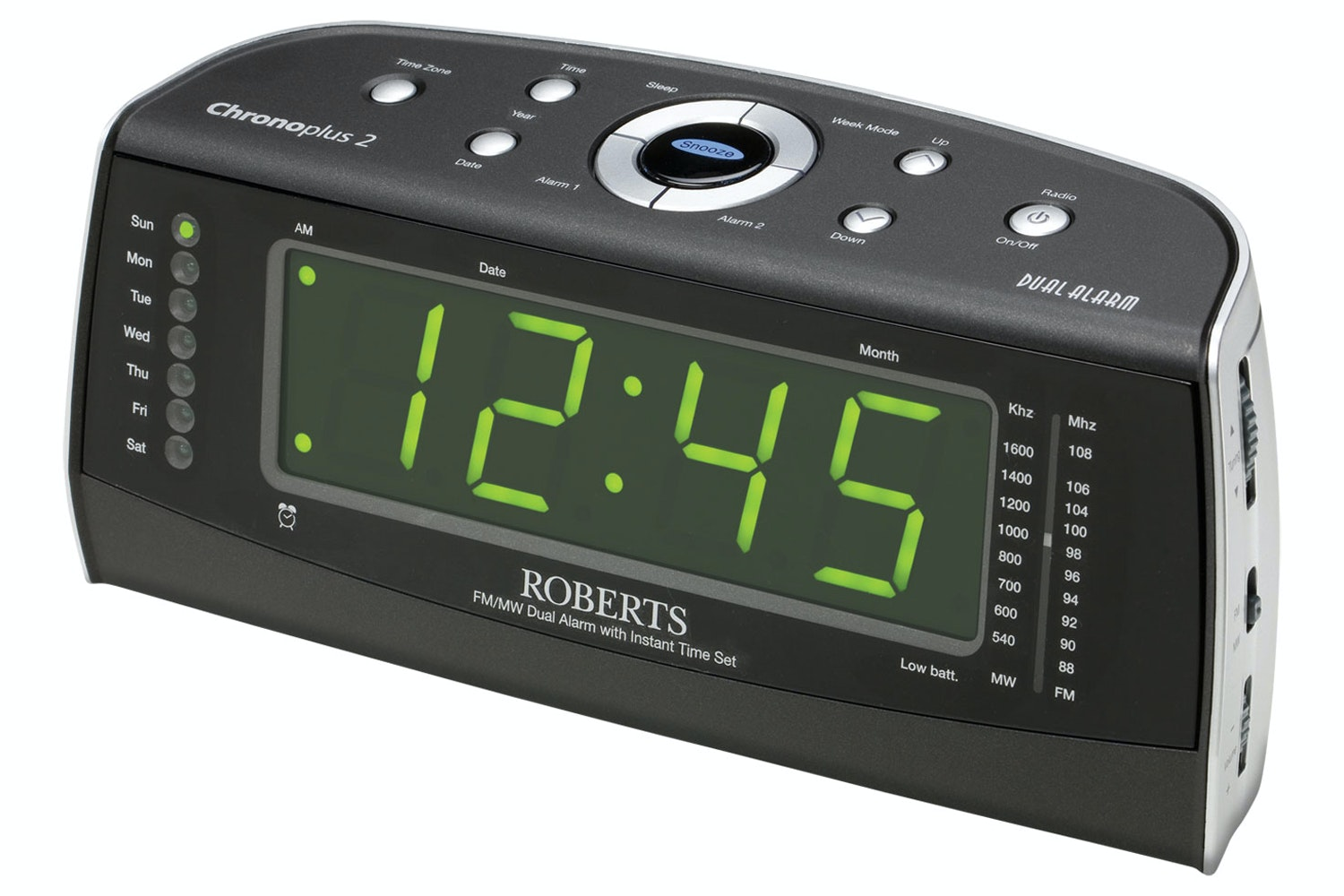 Roberts ChronoPlus2 MW/FM Clock Radio | Black