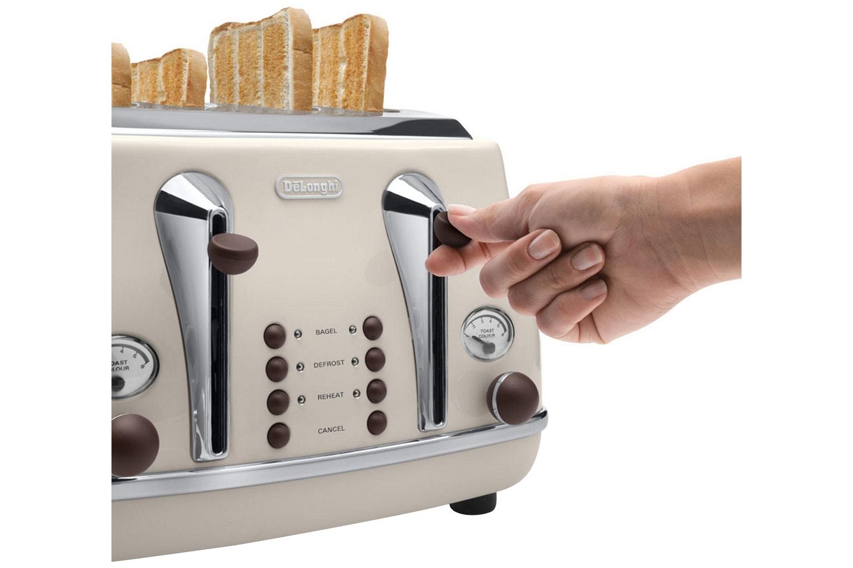 DeLonghi 4 Slice Vintage Toaster | CTOV4003BG | Cream