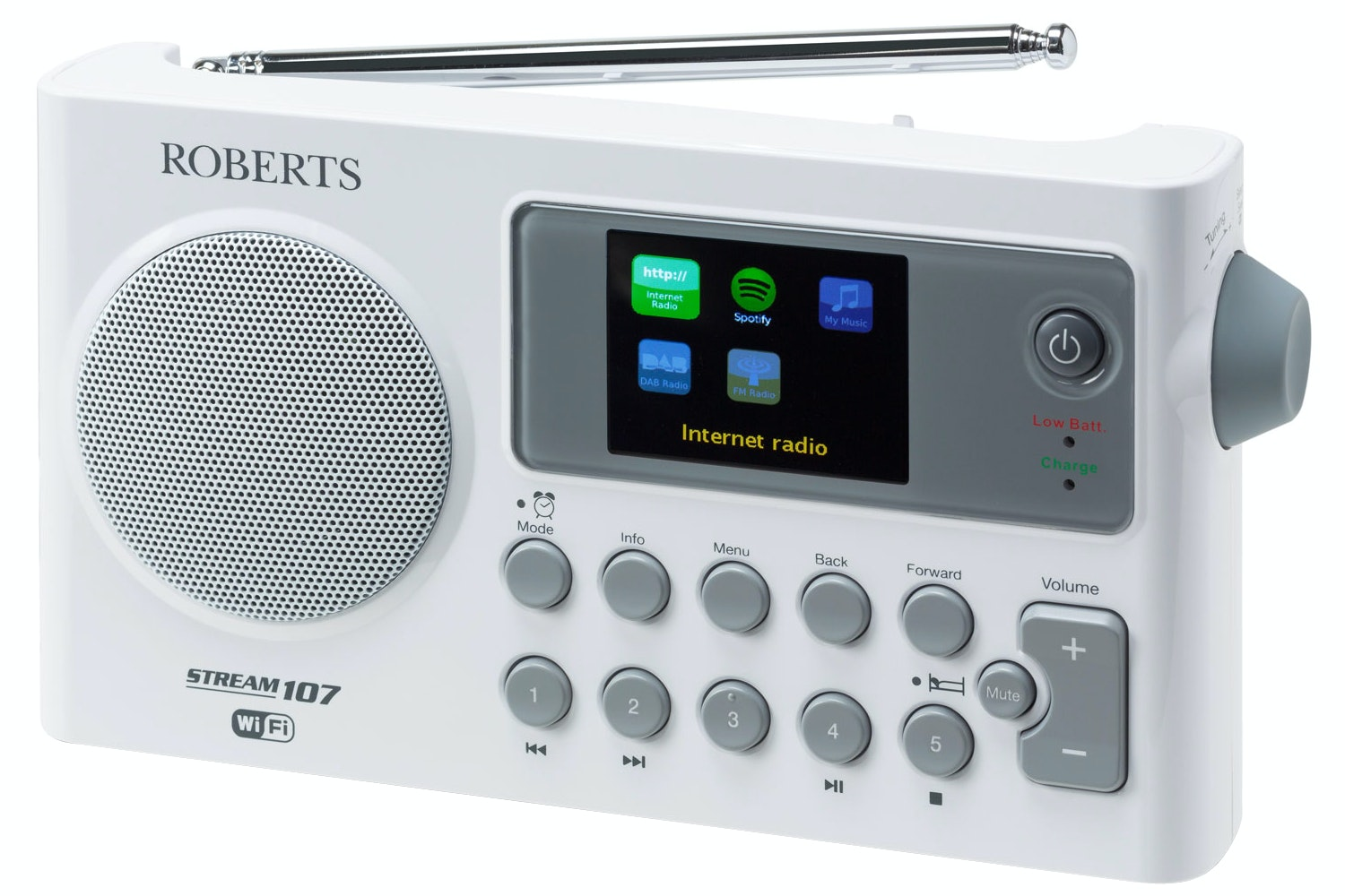 Roberts Stream107 DAB/DAB+/FM/Internet Smart Radio | White