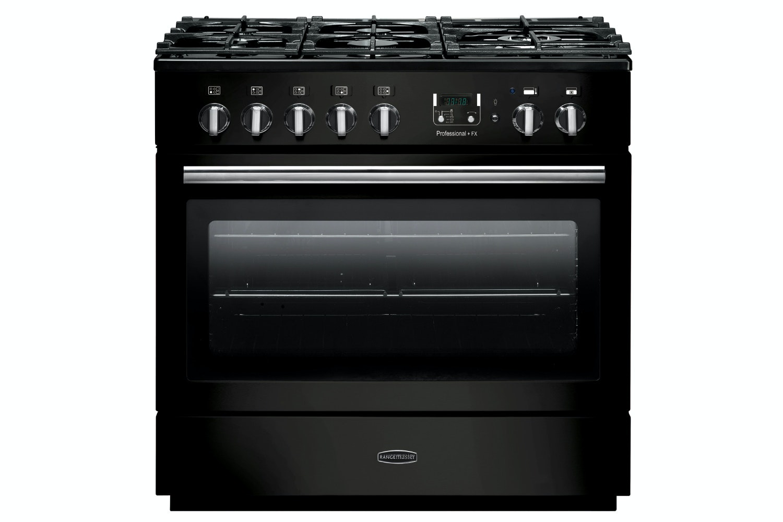 rangemaster pro plus fxp 90cm duel fuel range cooker gloss black