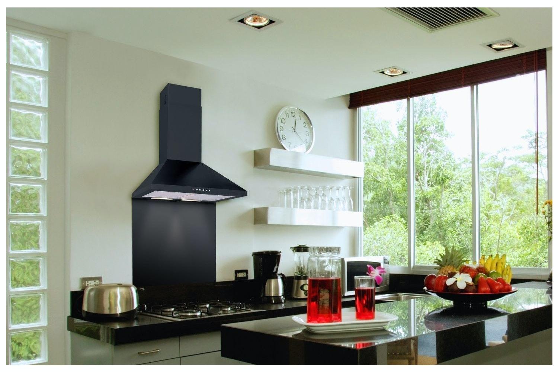 Luxair 110cm Chimney Hood Black | LA110STDBLK