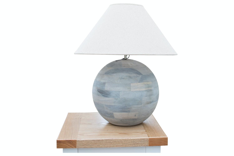 Round Grey Barn Wood Lamp