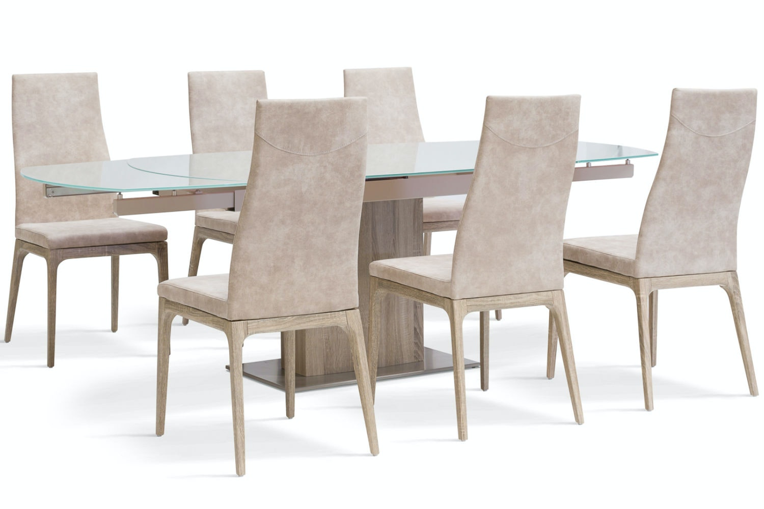 Lucci 7 Piece Dining Set | High Calvino Chairs | Light