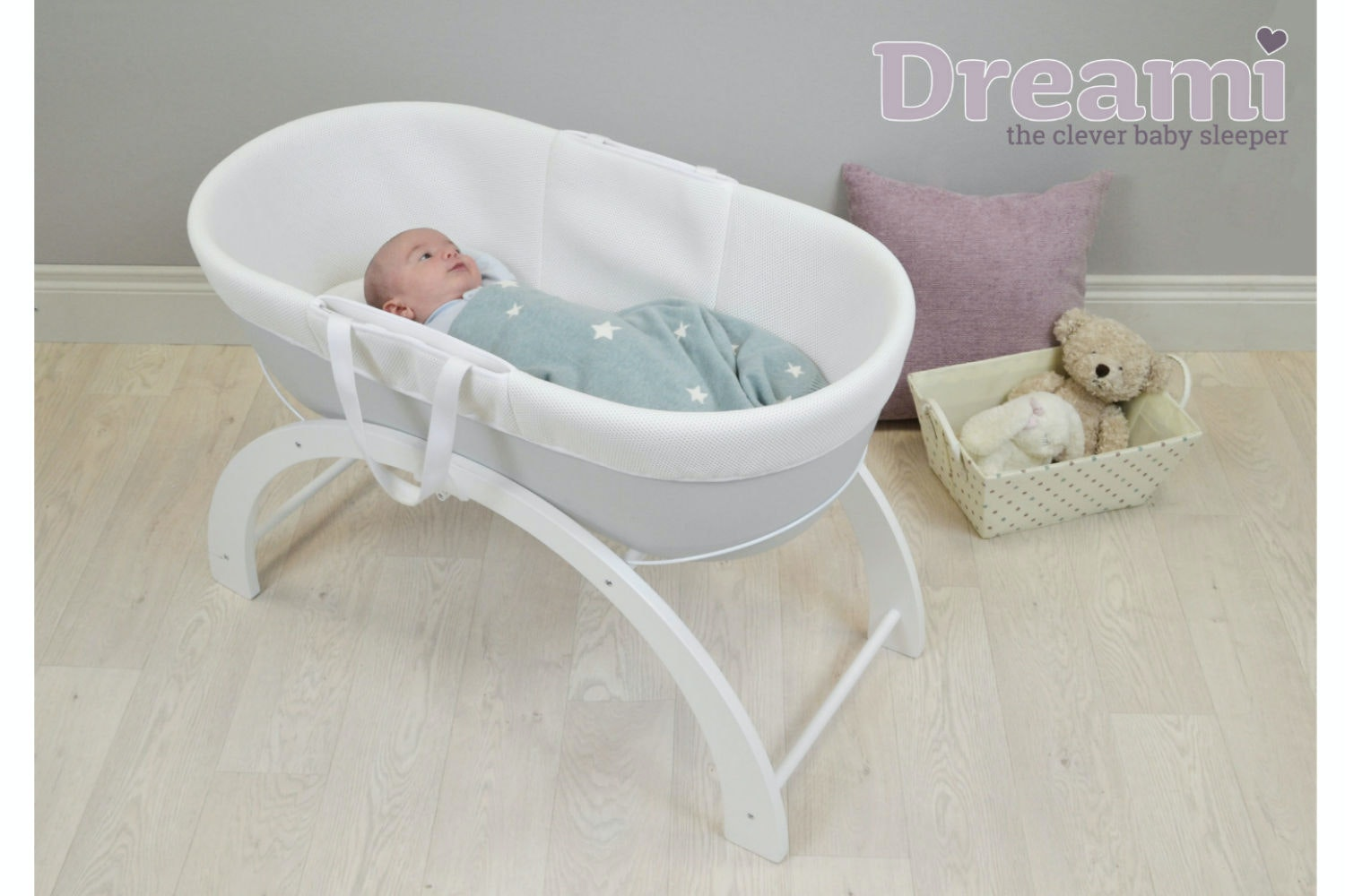 Shnuggle Dreami Moses Basket | Grey
