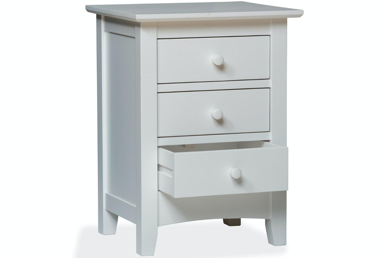 Shaker 3 Drawer Bedside Locker | White
