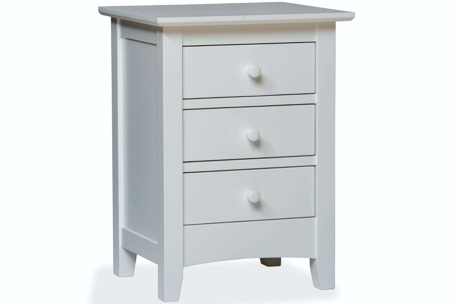Shaker 3 Drawer Bedside Locker White