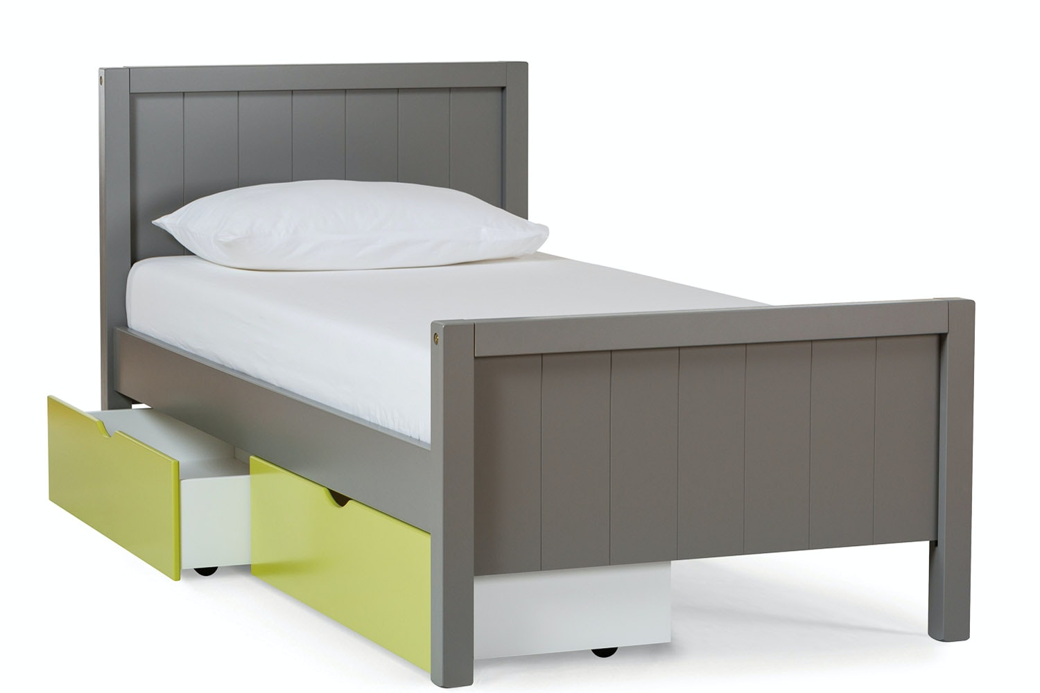 Urban Grey Single Bed | With Green Drawer