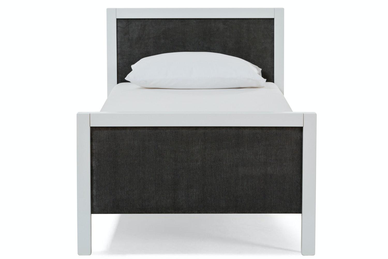 Urban White Single Bed | Dark Grey Fabric