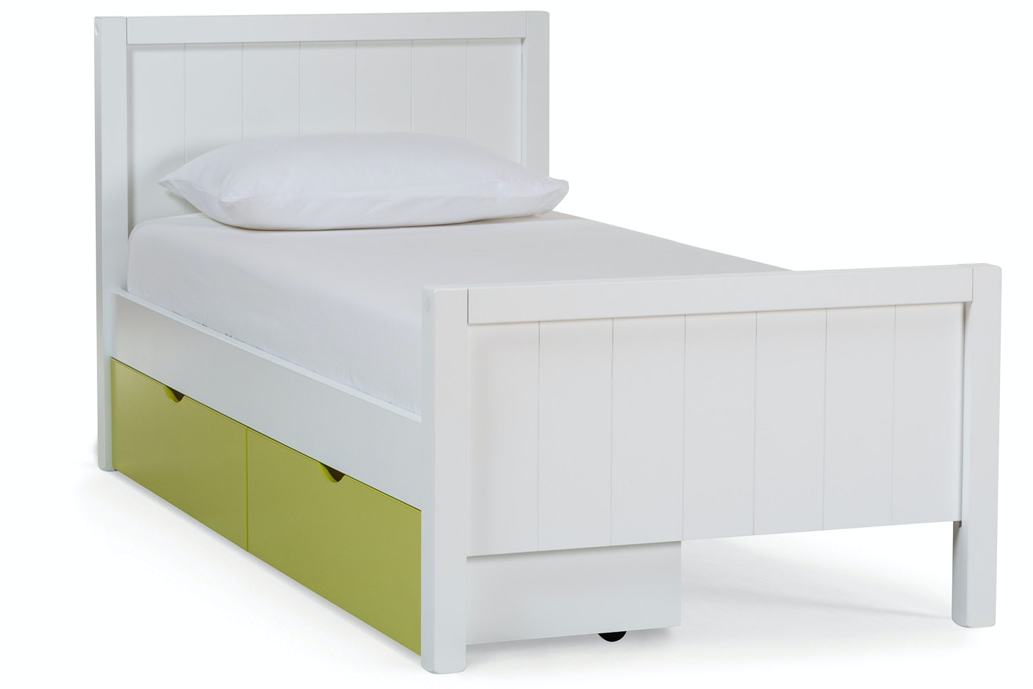 Urban White Single Bed | With Green Drawer