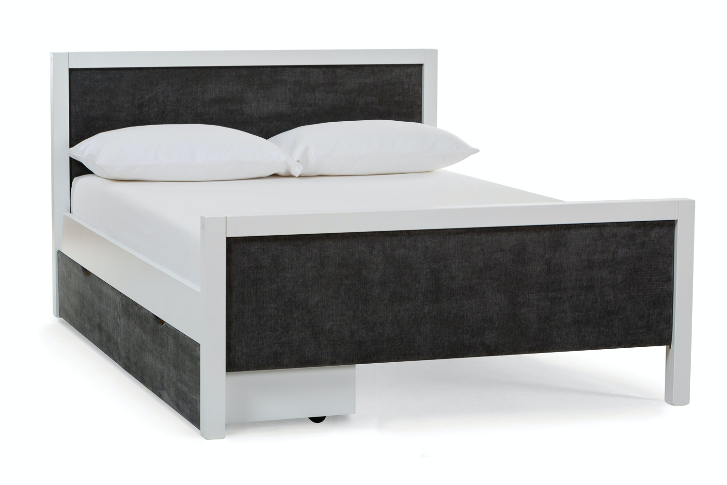 Urban White Double Bed | With 2 Dark Grey Fabric Drawers