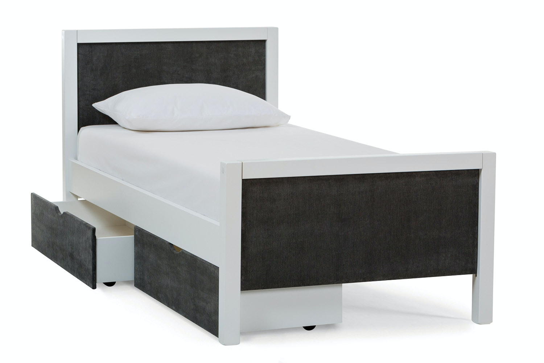 Urban White Single Bed | Dark Grey Fabric Drawer