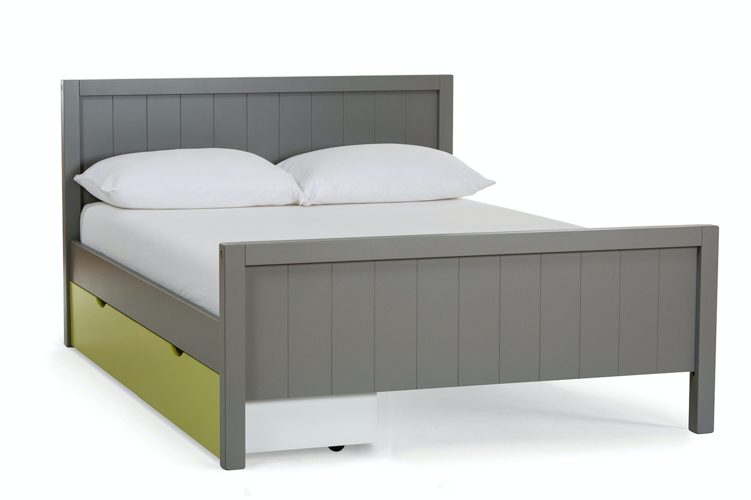 Urban Grey Small Double Bed | With Green Drawer
