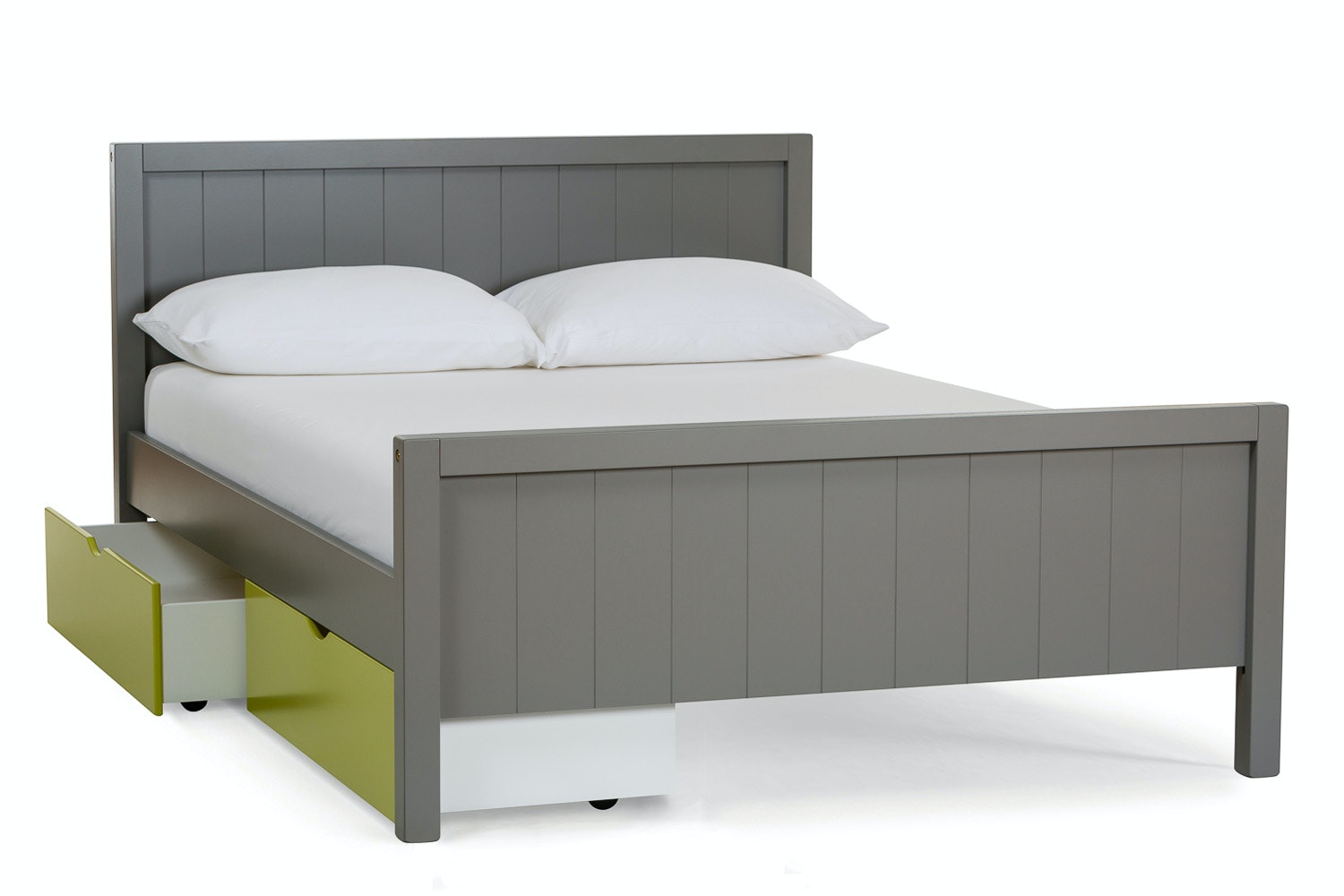 Urban Grey Double Bed | With 2 Green Drawers