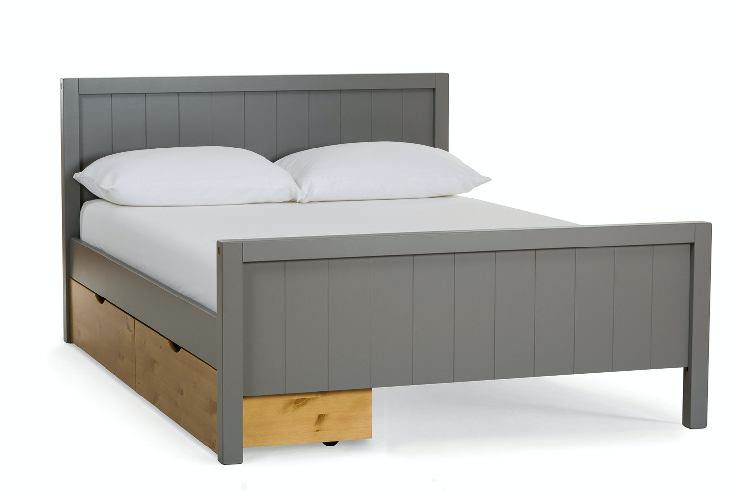 Urban Grey Double Bed | With 2 Natural Drawers