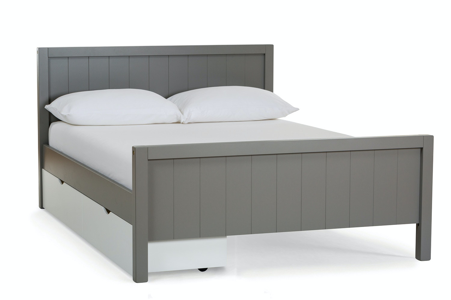 Urban Grey Double Bed   With 2 White Drawers