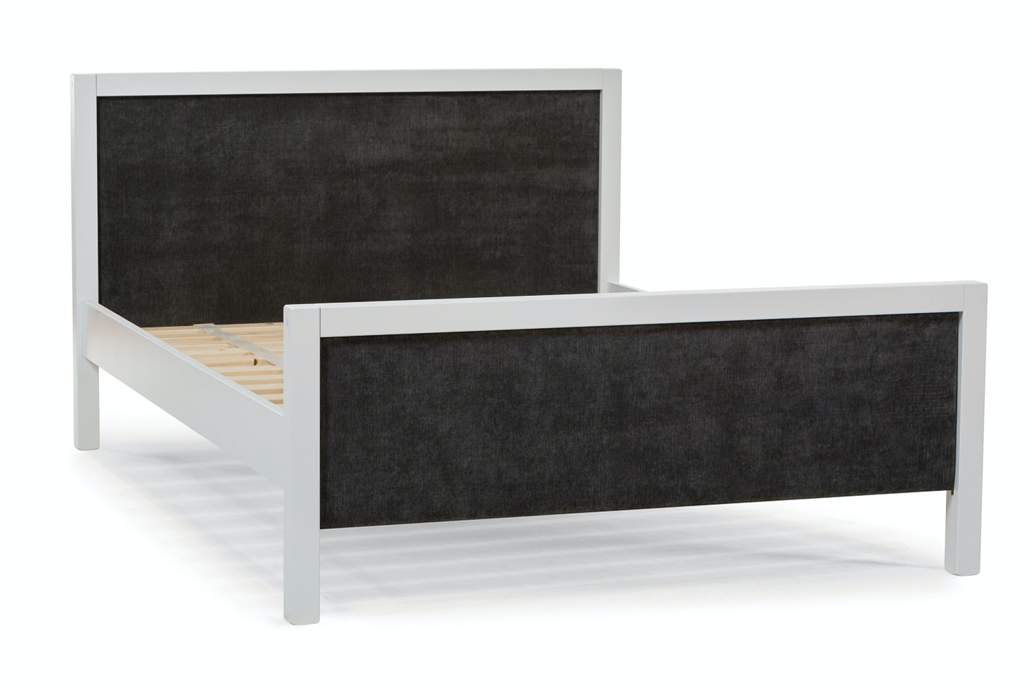 Urban White Double Bed | With Dark Grey Fabric