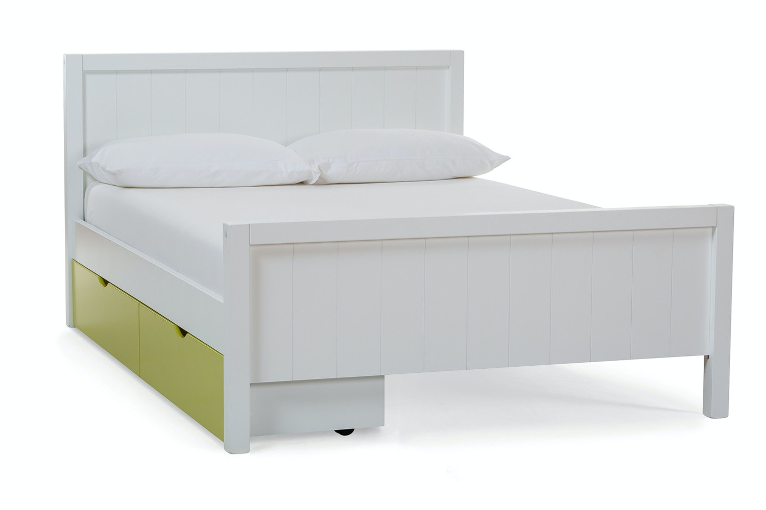 Urban White Small Double Bed | With Green Drawer