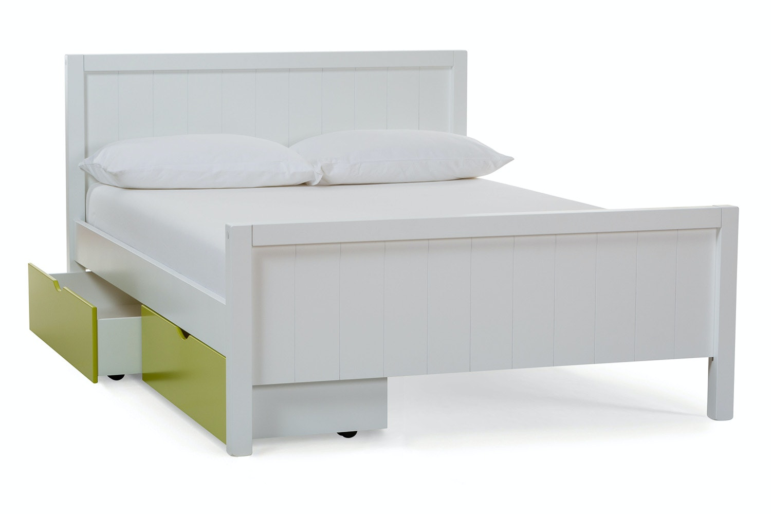 Urban White Double Bed | With 2 Green Drawers