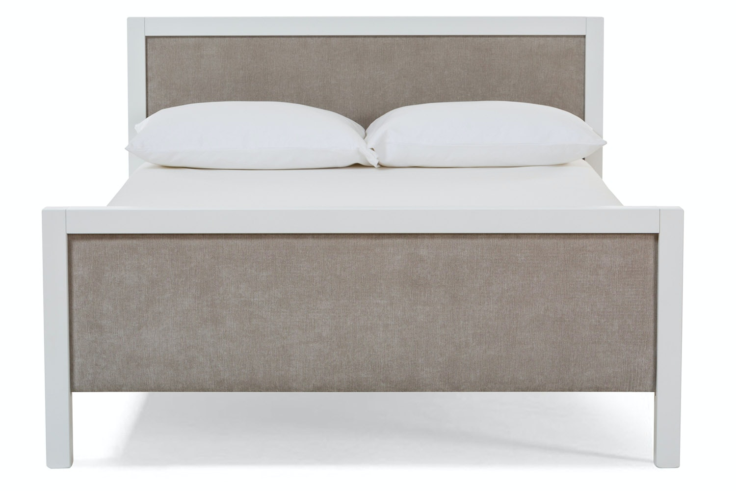 Urban White Double Bed | With Light Grey Fabric